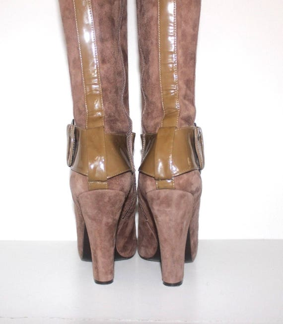 Vintage Boots EU38 Mocha High PURA Leather Heel 5 Real Size LOPEZ Women's UK5 5 F7dw8F