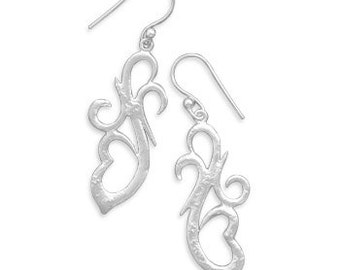 Sterling Silver Textured Design French Wire Dangle Earrings