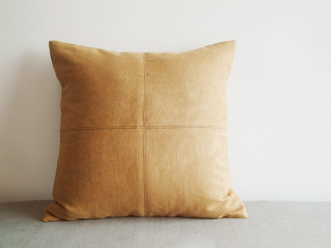 Camel Color Faux Suede Pillow Cover With Stitch Detail