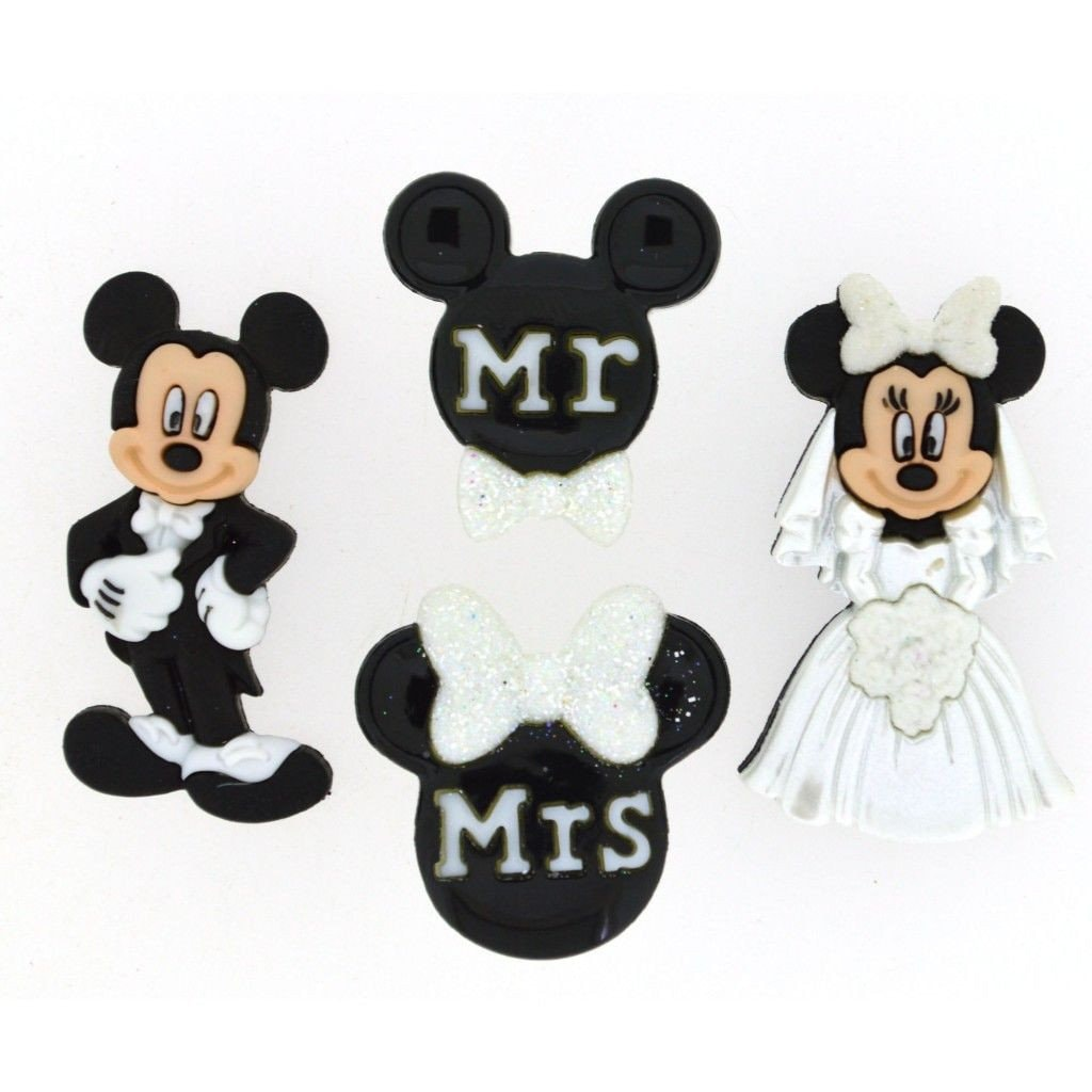Mickey And Minnie Mouse Wedding Buttons Mr Mrs Embellishment