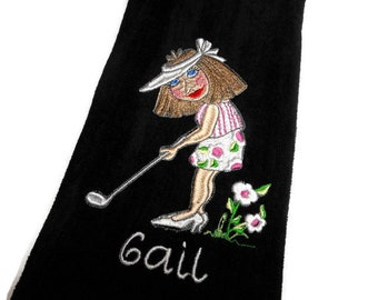 golf towel, gift for her, personalize gift, lady golfer, womens towel, funny towel, custom hair color, towel, mothers day, bridal party gift