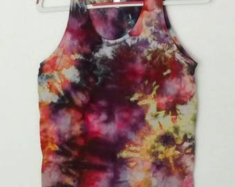 Purple Orange Red Ice Dyed Unisex Tank size Small Heirloom Tomato Colorway