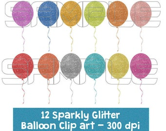 Digital Glitter Balloon Clipart, Sparkly Glittery Balloons, Colorful Balloons clipart, Birthday Clipart, Balloon Glitter Clip Art