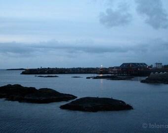 Landscape print, Norway photo, Travel Photography, Blue Wall art, Midnight Sun photo, Nature Photography