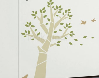Tree Decals with Birds - Modern Tree Wall Decal - 0147