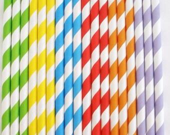 Paper Straws Rainbow Stripe Paper Straws Paper Drinking Straws Cake Pop Sticks