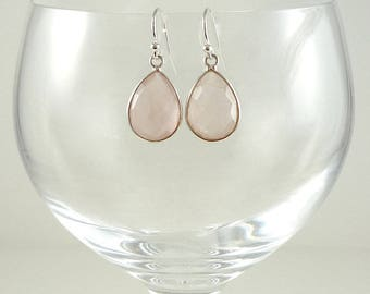 Rose Quartz Earrings Gemstone Earrings Pale Pink Quartz Earrings Rose Quartz Gemstone Drops Sterling Rose Quartz Teardrop Earrings Pink Drop