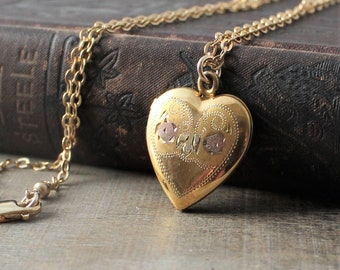 Gold Heart Locket Necklace, Rose Gold Locket, Gold Photo Locket Pendant, Wedding Locket Bridal Locket, Gold Photo Locket, Push Present
