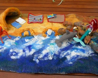 Beach play mat, seaside play mat, felted play mat, ocean play scape, Waldorf, Pre School, play school, mermaid, dolphin, octopus,rock pools