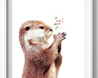 Otter print,watercolor painting,Nursery art,Wall art,home decor,Christmas Gift Pic no 17
