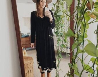 Vintage Bohemian Black Maxi Dress