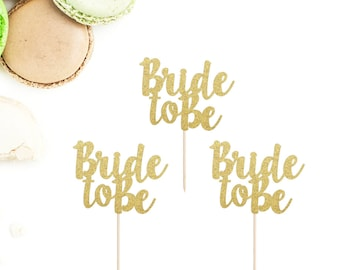 Bride To Be Cupcake Toppers (Set of 12) | Bridal Shower Cupcake Toppers | Engagement Party Cupcake Toppers | Glittery Bride To Be Toppers