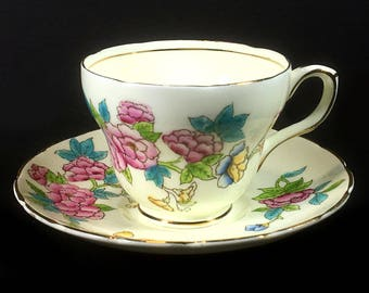 Vintage Foley Tea Cup and Saucer - Colorful Flowers with Gold Trim, Gold Rims