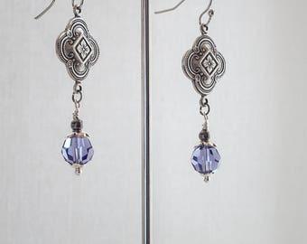 Art Deco Earrings, Vintage Drop Earrings, Edwardian Earrings, Antique Silver Filigree, Tanzanite Swarovski Crystal, Handmade, UK, Gift