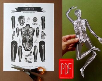 Skeleton PDF articulated paper doll Instant download printable pdf DIY paper puppet halloween decoration digital vintage illustration