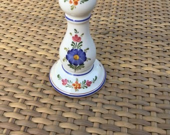 Vintage Floral Tyrolean Folk Art Candlestick By Austrian Maker Wechsler