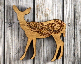 Laser cut wood brooch. QLD Walnut lace deer.