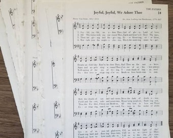 Vintage Sheet Music  - Old Book Pages, Hymns for Scrapbooking, Framing, Decoupage, Paper Craft / Hymnbook / Songbook / Piano Music / Antique