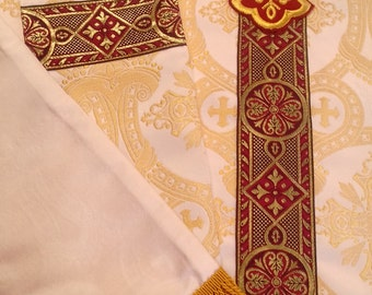 Ivory/Metallic Chasuble Stole Vestment Set Features Exquisite European Ecclesiastical Jacquard Embroidered Cross on Back, Red/Gold Galloon