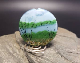 Lampwork Glass Focal Bead - handmade  A River Runs Through It