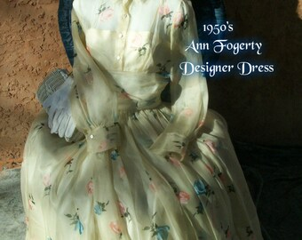 1950 Vintage Designer Dress ~ Anne Fogarty A Line Cupcake Couture ~ Full Skirt Silk Organza ~ Old Hollywood