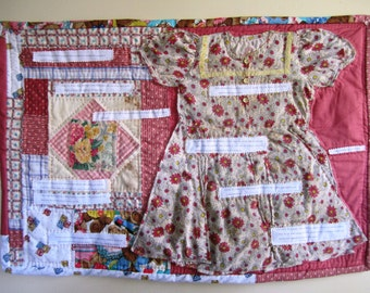 Applique Wall Quilt Mixed Media Vintage Country Feminist Patchwork  - 31 x 22.5 Inches