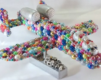 AIRPLANE PEARL bright showy bronze copper charms glass beads buttons rhinestones keys cabochon wood hippie Mix Media pilot sky travel flying
