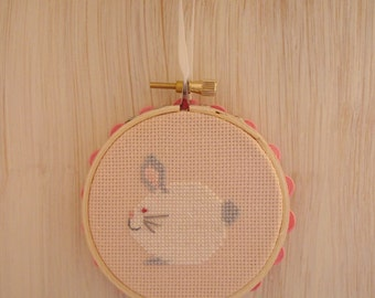Baby Bunny Cross Stitch Mini Hoop Decoration - Perfect for Spring, Easter, or Baby's Room