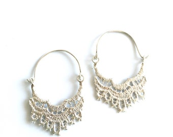Lace Hoop Earrings - Sterling Silver - Cast from Real Lace