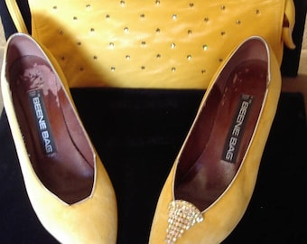 Designer Yellow Suede Pumps/ Leather Clutch Purse Topaz Stone Trim Item #50 Shoes/Purses
