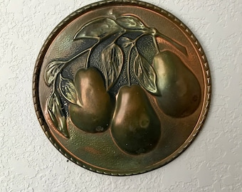 Vintage Copper Tinted Embossed Wall Hanging, Pear Tree Pears Fruit, Mid Century Mod Kitchen Decor