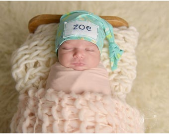 personalized baby hat - coming home outfit- name hospital hat- baby shower gift - photo prop- baby name hat - baby beanie