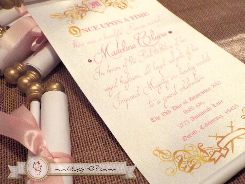 Royal Princess Scroll Invitation Birthday Wedding Invitation