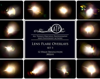12 Fine Art Digital LENS FLARE Overlays Set 5
