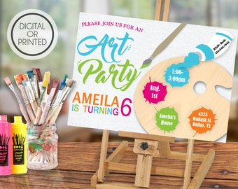 Art Party Invitation, Art Party Birthday Invitation, Art Party Invite, Painting Party Invitations, Art and Crafts, Art Themed Birthday Party