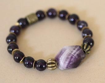 Amethyst and Brass Stretch Bracelet, Purple Bracelet, Amethyst Bracelet, Nugget Bracelet
