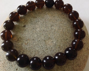 Meditation Stone. Grounding. Centering. Smoky Quartz Beaded Gemstone Bracelet. Stretch Bracelet. Simple Yoga Bracelet. Men or Women Bracelet