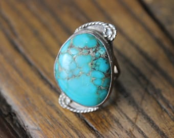 Vintage Sterling and Turquoise Ring Rope Design Antique Native American Indian Jewelry