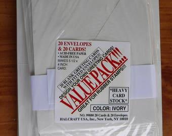 20 Ivory Envelopes and 20 Ivory Cards Kit