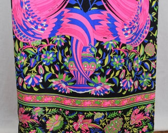 Vintage 1960's Mr. DiNo 3 Pc. PsYcHeDeLiC MOD Neon Peacock HiPPiE Maxi Skirt & Mid Drift Top Set Outfit Dress Size XS / S 8