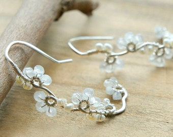 Moonstone Silver Earrings, Flower Vine Earrings, Dainty Delicate Wedding Jewelry