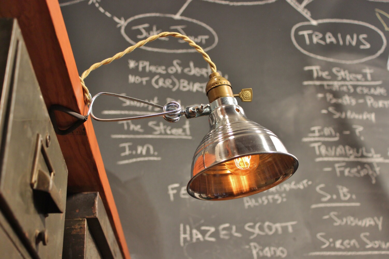 Vintage industrial clamp lamp wall or shelf mount task light zoom aloadofball Choice Image