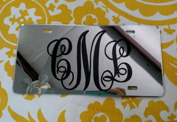 Monogram License Plate - Mirrored Chrome - Mirror car tag