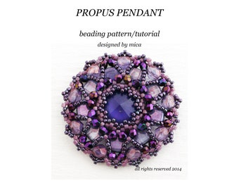 Propus Pendant - Beading Pattern/Tutorial - PDF file for personal use only