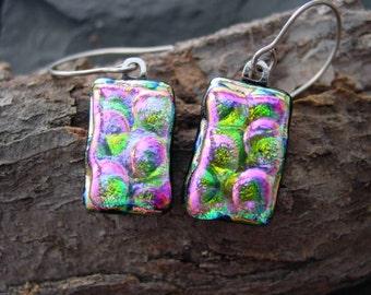 Pink  Lemonade Handmade Jewelry. Dichroic Glass Dangle Earrings. 1 1/2 in.  Sterling. E-54