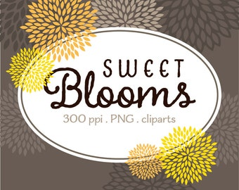 Sweet Yellow Blooms - Digital Clip Art - Yelow Charcoal Gray Brown Blooms - Instant Download