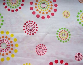 Cotton Fabric-Bright Colored Geometry Circles-Multi Colored-1.68 yds.