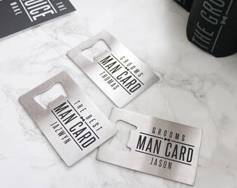 Personalized Groomsman Gift Bottle Opener SET OF 3 - Best Man Stainless Steel Card Opener Silver Groomsmen Gifts Father-of-Groom F-BW01S