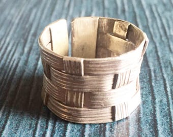 Woven silver ring, modern woven ring, boho woven ring,