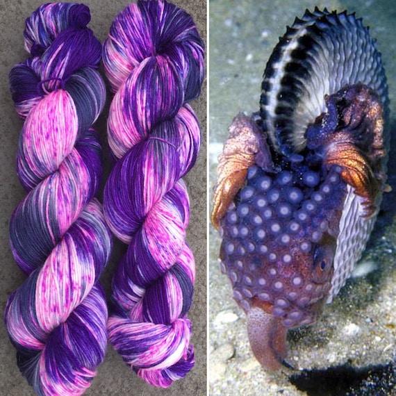 Argonaut 100g, cephalopod inspired speckled purple black merino nylon yarn